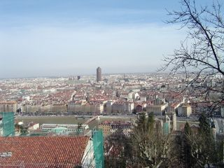 Overlooking Lyon from near Basilique Notre-Dame de Fourviere (cathedral)